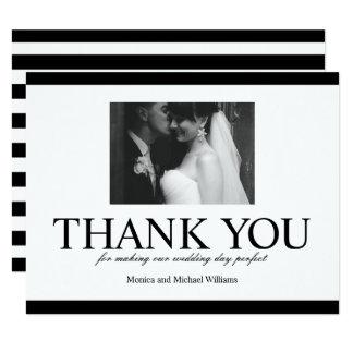 Hochzeits-Foto danken Ihnen Schwarzweiss-Karte Karte