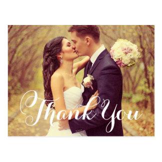 Hochzeits-Foto danken Ihnen | weißes elegantes Postkarte