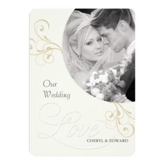 Hochzeits-Foto-Einladungen - elegantes Vintages 12,7 X 17,8 Cm Einladungskarte