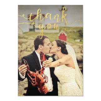 Hochzeits-Foto-Goldfolie danken Ihnen Karten 12,7 X 17,8 Cm Einladungskarte