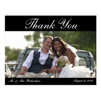 Hochzeits-Foto Horiz. B&W Custom danken Ihnen Postkarte