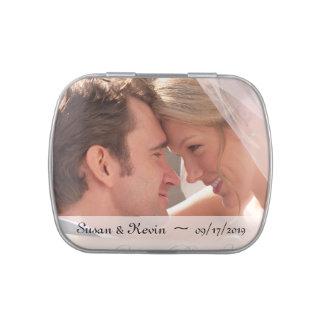 Hochzeits-Foto-Süßigkeits-Zinn Vorratsdose