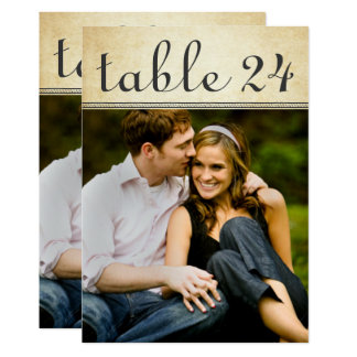 Hochzeits-Foto-Tischnummer kardiert | rustikalen 12,7 X 17,8 Cm Einladungskarte