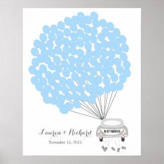 Hochzeits-Gast-Buch-Alternative mit blauen Poster