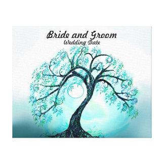 Hochzeits-Gast-Buch-alternativer blauer Baum des Gespannte Galeriedrucke