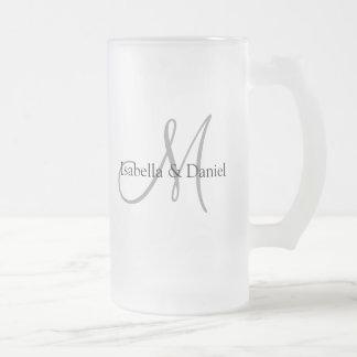 Hochzeits-Geschenk-Tassen-Monogramme Matte Glastasse