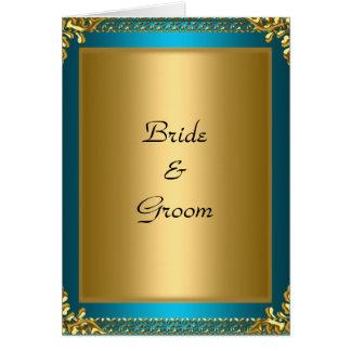 Hochzeits-Goldaquamarine Braut und -bräutigam Karte