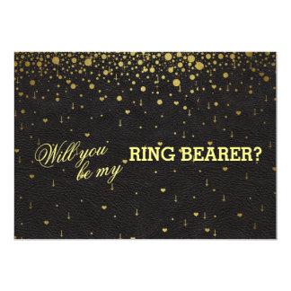 Hochzeits-Goldconfetti-Ring-Träger-Einladung Karte