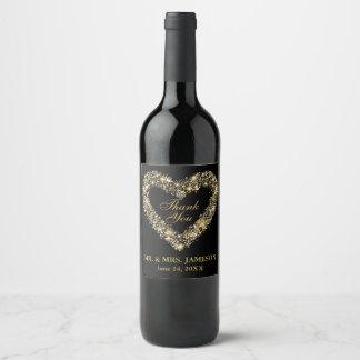 Hochzeits-Goldherz-Wein-u. Weinetikett