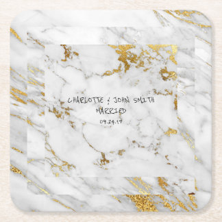 Hochzeits-Goldmarmor-graue quadratische Kartonuntersetzer Quadrat