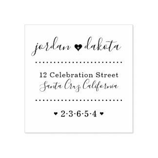 Hochzeits-Herz-Name-Skript-Rücksendeadresse Gummistempel