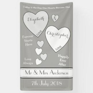 Hochzeits-Hintergrund-Foto-Stand-Grau und Weiß Banner