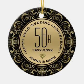 Hochzeits-Jahrestag des GoldGlitzer-Rahmen-50. Keramik Ornament