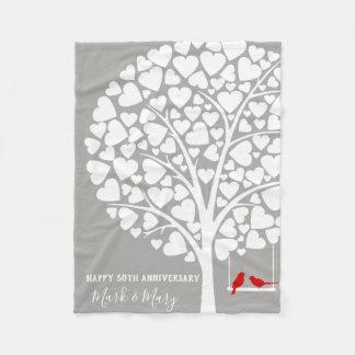 Hochzeits-Jahrestags-Baum mit Vögel Fleece-Decke Fleecedecke