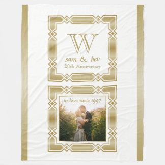 Hochzeits-Jahrestags-elegantes Goldmonogramm-Foto Fleecedecke