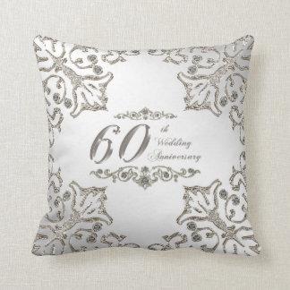 Hochzeits-Jahrestagthrow-Kissen des Glitter-60. Kissen