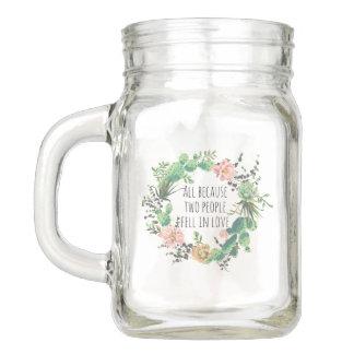 Hochzeits-Kaktus-Kranz mit Zitat Einmachglas
