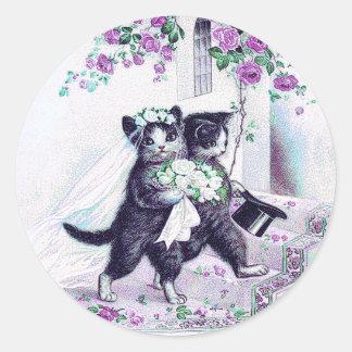 Hochzeits-Katzen-lila besonderer Anlass Runder Aufkleber
