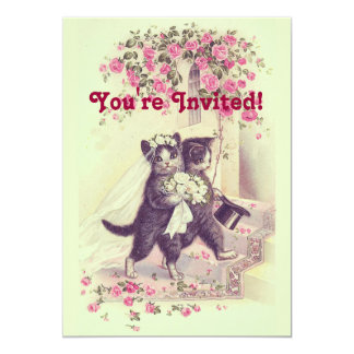 Hochzeits-Katzen-Pastellgrün 12,7 X 17,8 Cm Einladungskarte