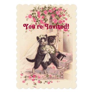 Hochzeits-Katzen-Vintage weiche rosa Einladung Karte