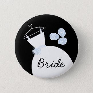 """Hochzeits-Kleiderblaues """"Braut"""" Knopfschwarzes Runder Button 5,1 Cm"""