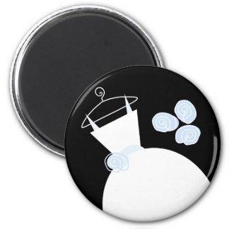 Hochzeits-Kleiderblaues Kühlschrankmagnetschwarzes Runder Magnet 5,1 Cm