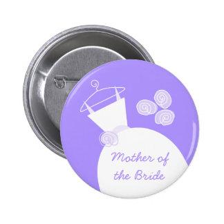 Hochzeits-Kleiderlila 'Mutter des Bride Runder Button 5,1 Cm