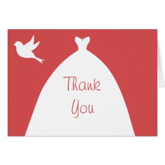 Hochzeits-Kleiderrosa danken Ihnen mit weißer Karte