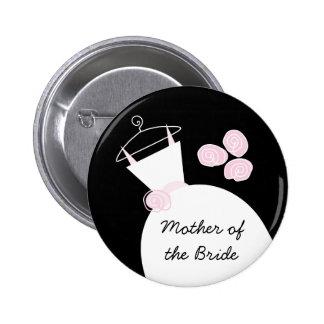 """Hochzeits-Kleiderrosa """"Mutter der Braut"""" Schwarzes Runder Button 5,7 Cm"""