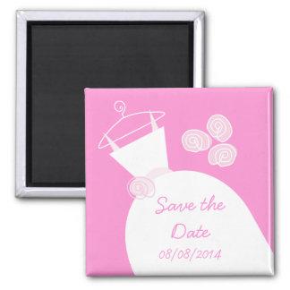 Hochzeits-Kleiderrosa 'retten das date Quadratischer Magnet