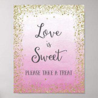 Hochzeits-Liebe ist süßer Plakat-Druck Poster