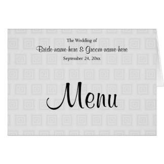 Hochzeits-Menü-Entwurf im blassen Grau mit Mitteilungskarte