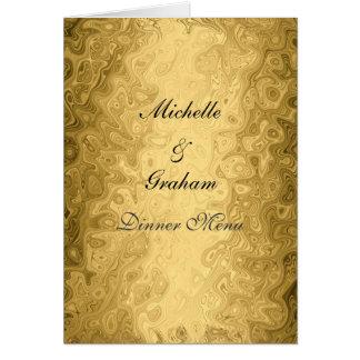 Hochzeits-Menü-Gold Grußkarte