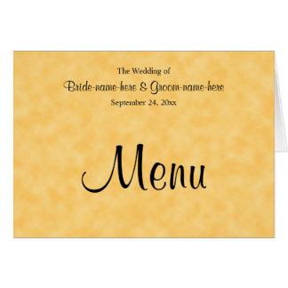 Hochzeits-Menü im Gelb und im Schwarzen Mitteilungskarte