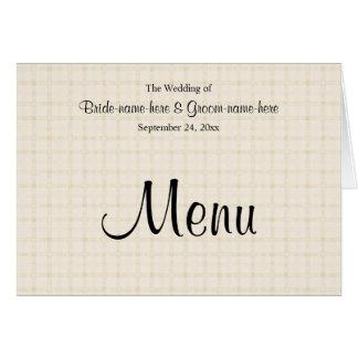 Hochzeits-Menü im hellen beige Karo und im Mitteilungskarte