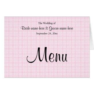 Hochzeits-Menü in blassem - rosa Karo und Mitteilungskarte