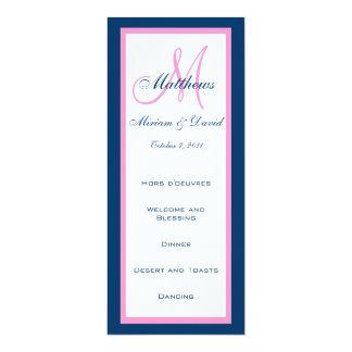 Hochzeits-Menü kardiert Monogramm-rosa Blau 10,2 X 23,5 Cm Einladungskarte