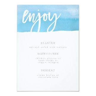 Hochzeits-Menü-Karte, blaues Aquarell Karte