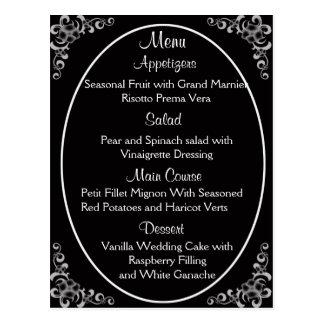 Hochzeits-Menü-Karten Postkarte