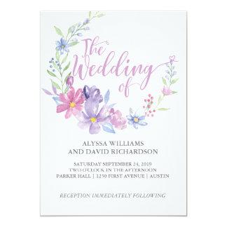 Hochzeits-mit Blumenkarte des Aquarell-botanische Karte