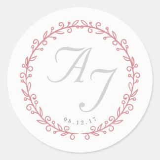 Hochzeits-Monogramm-Aufkleber   erröten und Blüte Runder Aufkleber