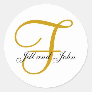 Hochzeits-Monogramm F plus Vorname-Goldaufkleber Runder Aufkleber