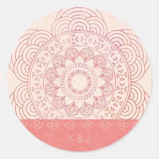 Hochzeits-Monogramme Boho schicker Mandala-Entwurf Runder Aufkleber