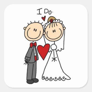 Hochzeits-Paare tue ich T - Shirts und Geschenke Quadrat-Aufkleber