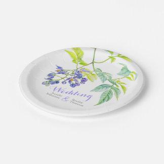 Hochzeits-Papier-Teller der botanischen Kunst lila Pappteller 17,8 Cm