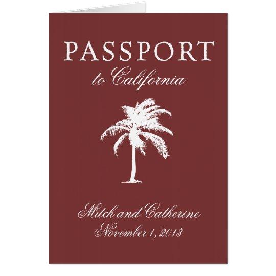 Hochzeits-Pass-Einladung zu Kalifornien Mitteilungskarte