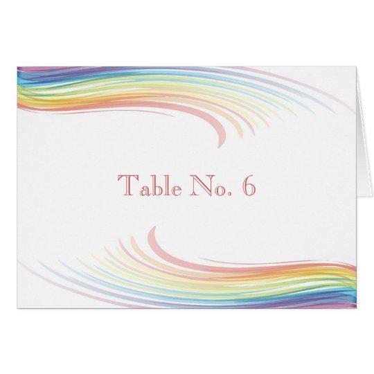Hochzeits-Platzkarten - Regenbogen-Welle Mitteilungskarte