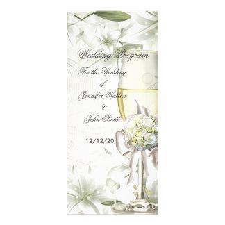 Hochzeits-Programm-beige grünes Blumen Individuelle Werbekarte