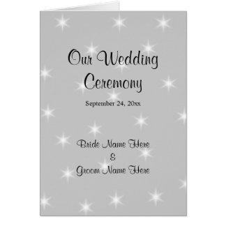Hochzeits-Programm, blasses Grau mit weißen Grußkarte
