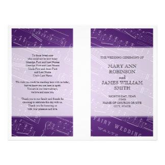 Hochzeits-Programm-Blatt-Musik lila Flyerbedruckung
